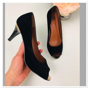 Boutique peep toe gold heel suede heels sandals 39